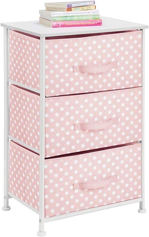 mDesign Cómoda de tela con 3 cajones – Práctico mueble auxiliar de almacenaje para las habitaciones infantiles, los dormitorios, etc. – Preciosa cajonera con cajones de tela – rosa/blanco: Amazon.es: Hogar