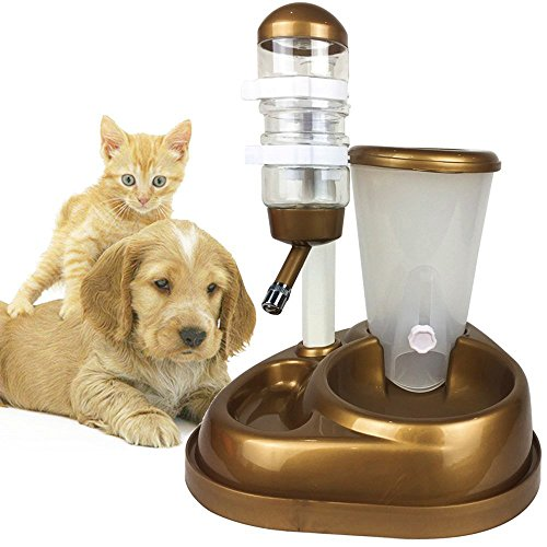 Westspark Pet Cafe Feeder Self-Dispensing Food Gravity Automatic Replendish station Waterer for Dog Cat Animal puppy Dry Food Storage Bottle Bowl Dish Stand by Westspark