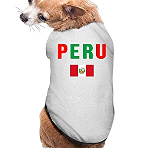 Wuidhd42s1 Dog&Cat Tshirt Peru Flag Summer Walk Dog&Cat Clothes S