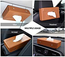 Brown Premium PU Leather Auto Foldable Hanging Paper Organizer Towel Napkin Pumping Box Cover for Car Home Office Use MoKo Car Sun Visor Tissue Box Holder