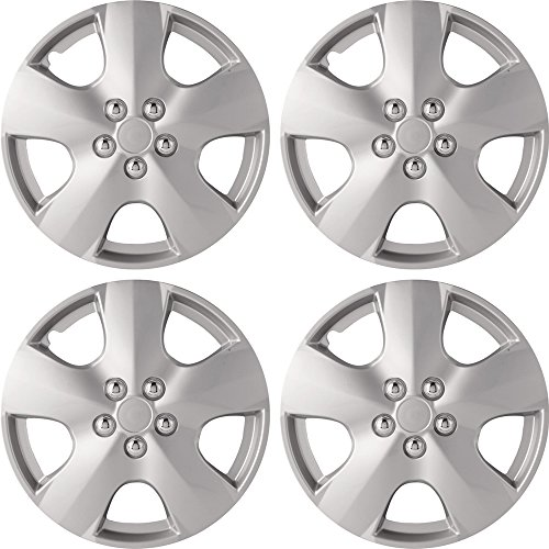 14' Silver Hubcaps (14' Silver Wheel Cover Hub Caps Set Of 4 Pieces Universal Set WC18SL)