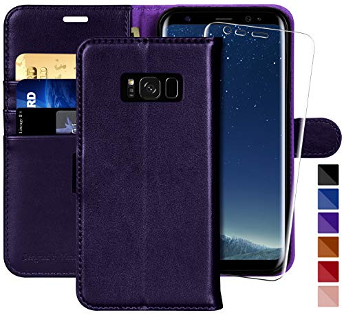 Galaxy S8 Wallet Case, 5.8-inch,MONASAY [Included Screen Protector] Flip Folio Leather Cell Phone Cover with Credit Card Holder for Samsung Galaxy S8 (Purple)