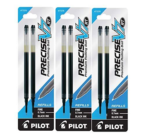 Pilot Precise V7 RT Liquid Ink Retractable Rollerball Pen Refills, 0.7mm, Fine Point, Black Ink, 3-Packs of 2