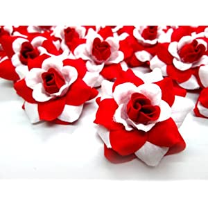 "(24) Silk Red White Roses Flower Head - 1.75"" - Artificial Flowers Heads Fabric Floral Supplies Wholesale Lot for Wedding Flowers Accessories Make Bridal Hair Clips Headbands Dress 27"