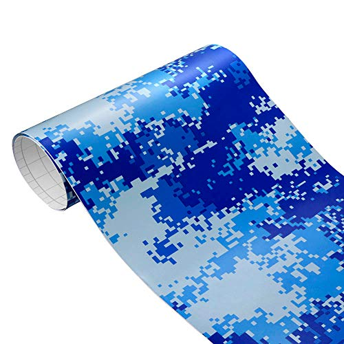 60x500cm Camouflage Vinyl Wrap for Car-Camouflage Vinyl Decal Sheet-PVC Camouflage Vinyl Textured Cover-Car Interior Decorations Film Vinyl-Decoration Stickers Vinyl Waterproof Furniture (Navy Blue)
