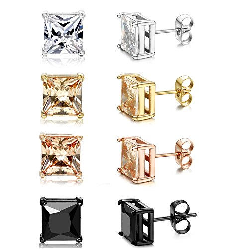ORAZIO+4+Pairs+Stainless+Steel+Women+Stud+Earrings+Mens+Ear+Piercing+Cubic+Zirconia+Earrings+6mm