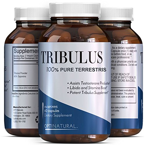 Potent Natural Tribulus Terrestris Extract Supplements - Burn Belly Fat - Build Muscle Pills - Enhance Weight Training - Boost Libido - Male Enhancement Capsules - Tribulus Extreme - Opti Natural