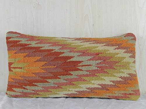 (12'' x 20'' Orange and Green Kilim Pillow Cover, Rustic Home Decor Pillowcase (30 x 50 Cm))