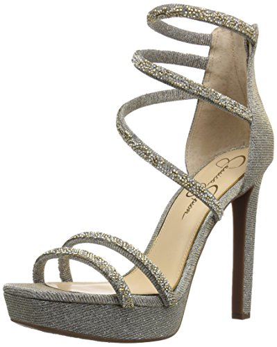 Jessica Simpson Womens Beyonah Tacco Sandalo Oro / Multi