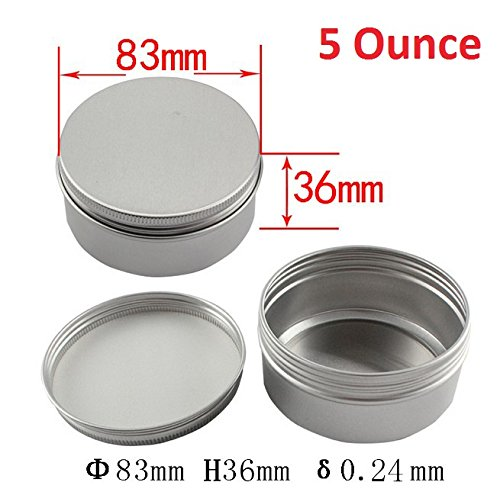 Healthcom 5-Ounce 12 Pack Screw Top Round Steel Tin Cans Aluminum Metal Tin Flat Storage Container for DIY Beauty,Cosmetics,Accessories,Candle Travel Tins or Storage Survival Kit (Screw Thread Closure)