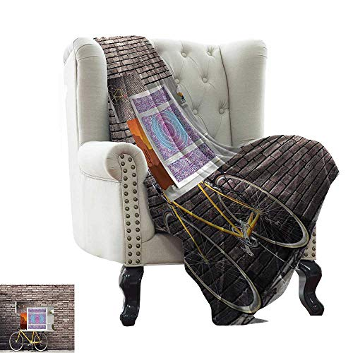 Marilec Living Room/Bedroom Warm Blanket Past Times Aesthetic Road Bike Lean Brick Wall Outdoor Daily Town Life Photo Traveling,Hiking,Camping,Full Queen,TV,Cabin 60