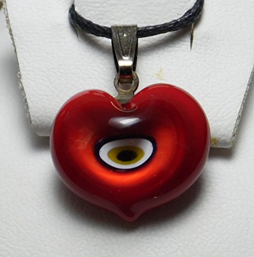 EDAM Red Heart Murano Glass Lampwork Turkish Jewelry Amulet Hamsa Charm Evil Eye Necklace Pendant with 18.5