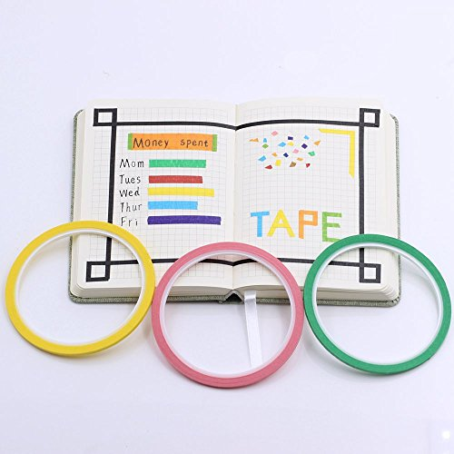 Supla 12 Colors 12 Rolls Whiteboard Gridding Tape Grid Marking Tapes 1/8″Wide x 42′ Long per roll, Colored Masking Tape Adhesive Chart Tapes Artist Tape