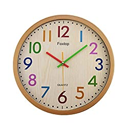 Foxtop Silent Colorful Kids Wall Clock 12.5 Inch Large Decorative Non ticking Wall Clock Vintage Country-Style Battery Operated Clocks - Easy To Read
