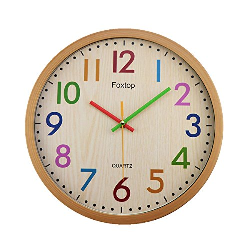 Wood Pool Clock (Foxtop Silent Colorful Kids Wall Clock 12.5 Inch Large Decorative Non ticking Wall Clock Vintage Country-Style Battery Operated Clocks - Easy To Read)