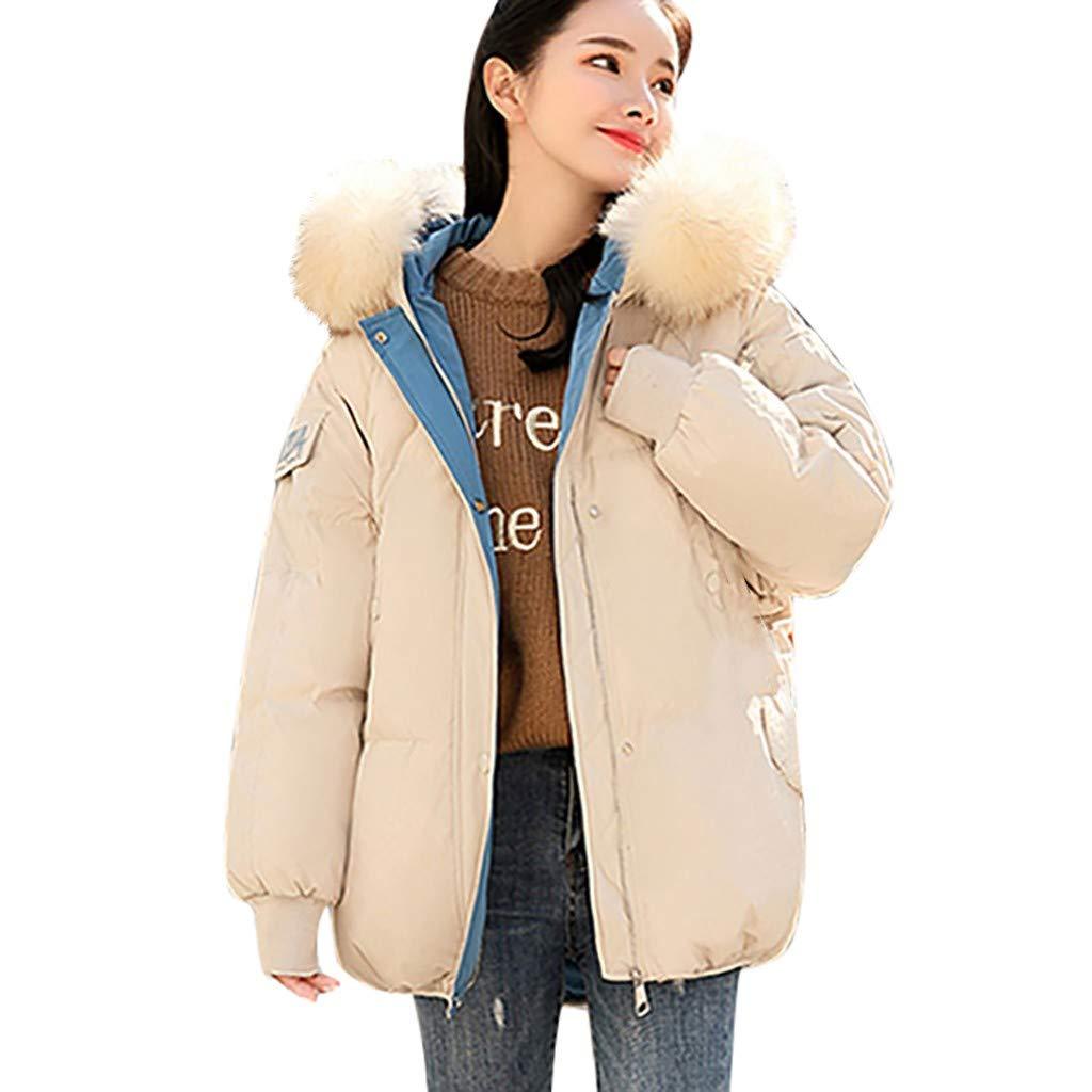 Lataw Women Girls Outerwear Fashion Long Sleeve with Zipper Warm Hooded Winter Jackets Cotton-Padded Coats by Lataw