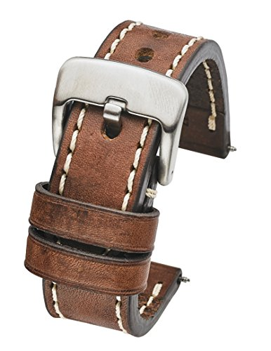 Thick Padded Stitched Genuine Oil Leather Watch Band - Brown - 22mm (fits wrist sizes 6 to 7.5 inch)