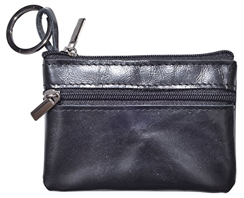 Yeeasy Womens Mini Coin Purse Wallet Genuine Leather Zipper Pouch with Key Ring (Style2 - Black)