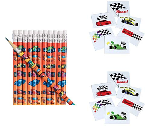 168 RACE CAR Party Favors ~ 2 Dozen (24) Wooden Race Car Pencils & 144 Race Theme Tattoos - Birthday Parties - Classroom Activity TEACHER Rewards MOTIVATION ()