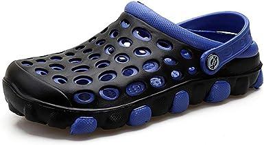 FHTDN Sandalias con orificios para hombre Zapatillas casuales Zapatos de zueco de jardín para caminar al aire libre Cubierto,Blue,41: Amazon.es: Ropa y accesorios