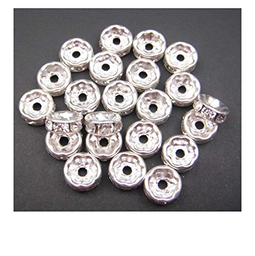 ALL in ONE Silver Plated Crystal Rhinestone Rondelle Spacer Beads for Jewelry Making (10mm-100pcs)