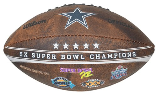 Gulf Coast Sales NFL Dallas Cowboys Commemorative 5X Champ Football, 9-inches