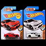 Hot Wheels 2016 Muscle Mania 2015 Dodge Charger SRT Hellcat Set of 2 in Red and White WITH PROTECTORS