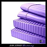 Luxurious 100% Egyptian Cotton 600TC Cal-King Size Attached Waterbed Sheet Set Stripe Lilac