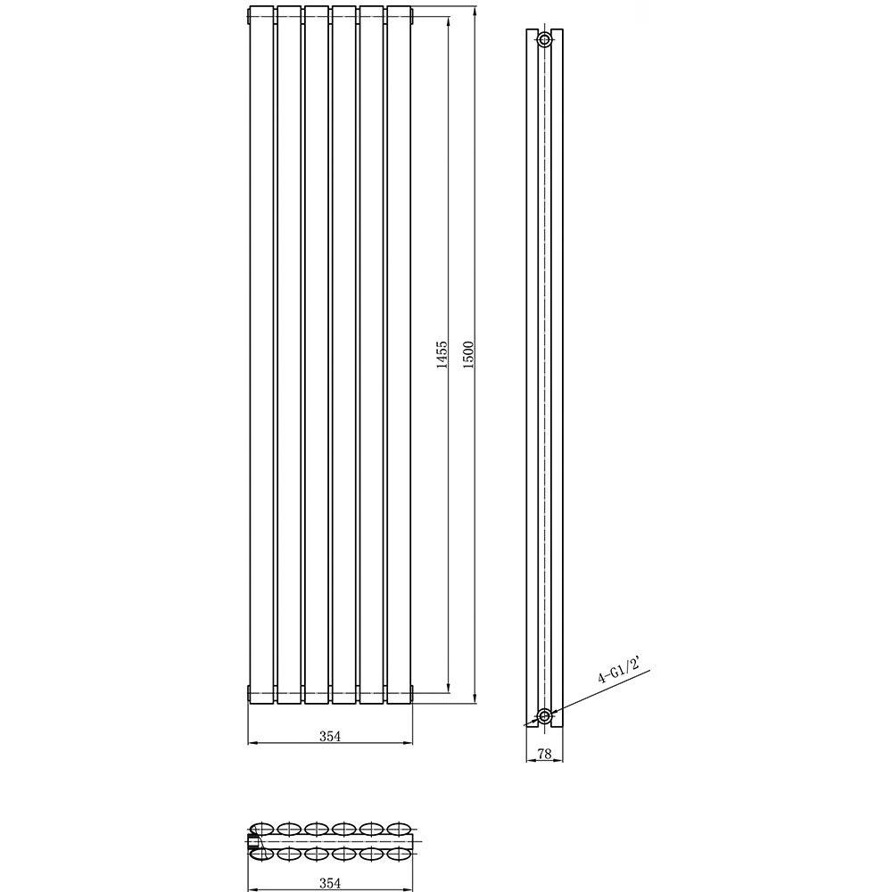 Hudson Reed HL368/Revive-Doppelheizk/örper 1500/x 354/mm Wei/ß wei/ß P HL326
