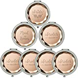 7 Sets Makeup Pocket Compact Mirror, 1 Bride Makeup Mirror 1 maid of honor 5 bridesmaid Makeup Mirrors for Wedding Bridal Shower Bachelorette Party Bridesmaid Proposal Gifts(Champagne)