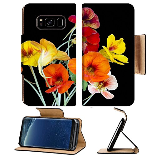 Luxlady Premium Samsung Galaxy S8 Flip Pu Leather Wallet Case IMAGE 39779450 Red and yellow nasturtium for Halloween collages isolated on black Soft art -