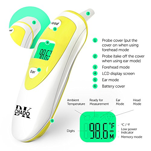 Forehead and Ear Thermometer for Baby, Kids and Adults - Digital Medical Infrared Thermometer for Body with Fever Indicator by ChadoDK (Image #4)