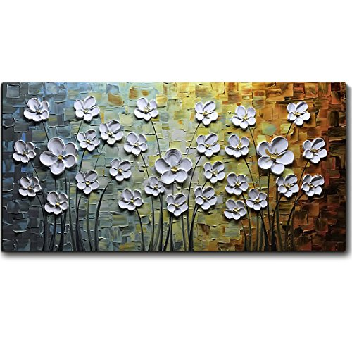 V-inspire Paintings, 24x48 Inch Paintings White Daisy Flower Oil Painting 3D Hand-Painted On Canvas Abstract Artwork Art Wood Inside Framed Hanging Wall Decoration Abstract Painting