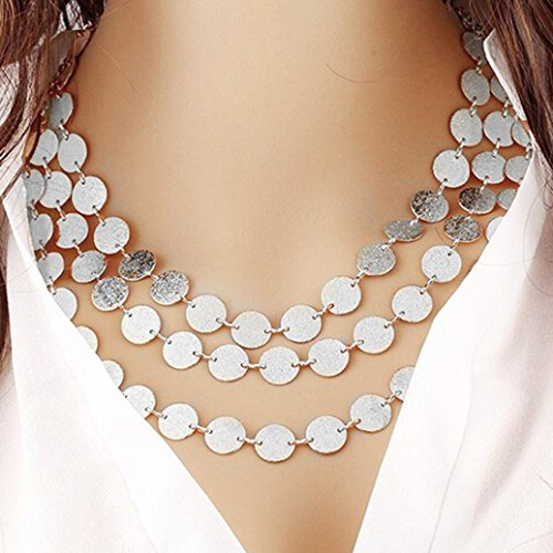 (Botrong Women Multi-layer Metal Clothing Accessories Bib Chain Necklace Jewelry (Silver))