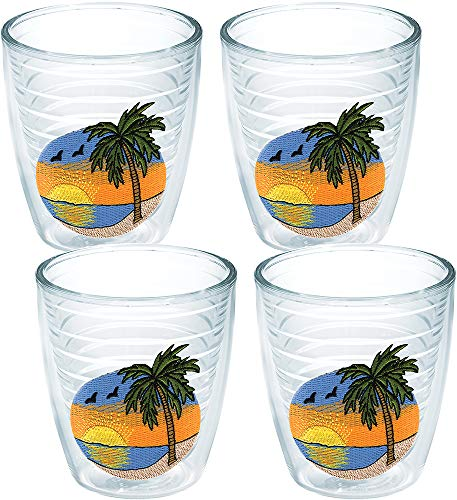 (Tervis 1035736 Palm Tree Scene Tumbler with Emblem 4 Pack 12oz,)