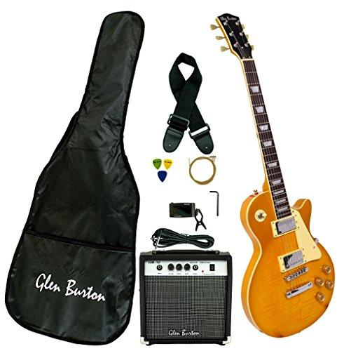 Amp Pack Burton (Glen Burton GE320BCO-GLD Classic Single Cut Style Electric Guitar, Gold)