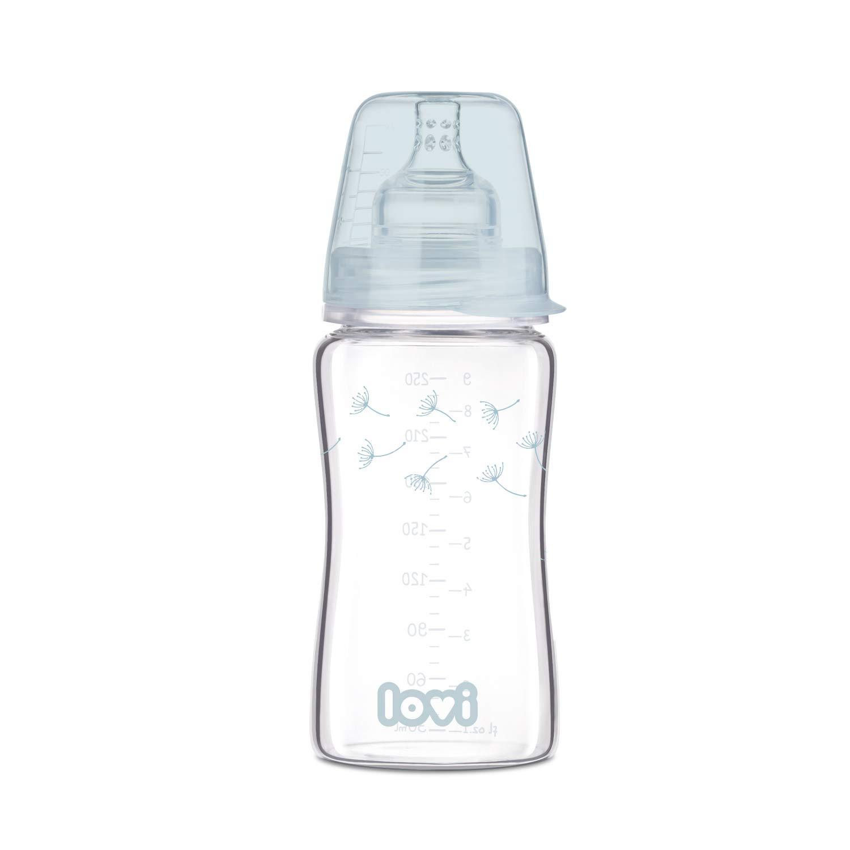 250 ml LOVI Anti-Kolik-Flasche aus Glas mit dynamischem Sauger SUPER Air Vent System Botanic Kollektion Sch/ützt den Saugreflex