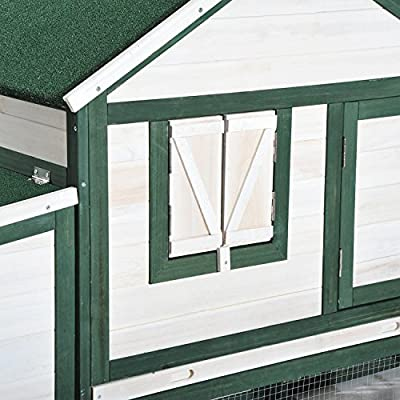 """PawHut 76"""" Portable Slanted Wooden Chicken Coop Kit with Wheels, Covered Run and Nesting Box"""