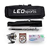 OUTLIFE Leo Fishing Spinning Reel Rod Black Carbon Fiber Telescopic Fishing Rod Pole With Line Lures Accessories Combo Seawater Freshwater Fish Fishing Kit