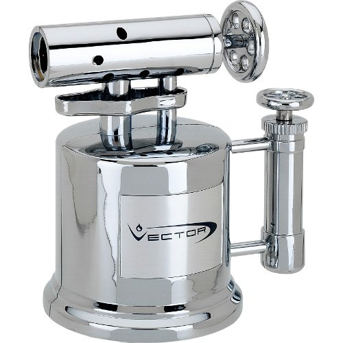 Vector Tri Pump Table Top Cigar Torch Lighter Hi-Polish Chrome TriPump by Vector