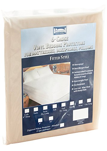 The Allergy  Store Fitted Vinyl Mattress Cover, 6 Gauge, 16""