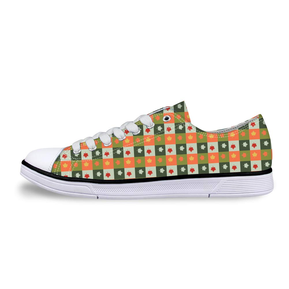 Canvas Low Top Sneaker Casual Skate Shoe Mens Womens Canada Maple Leaf Checkerboard Plaid