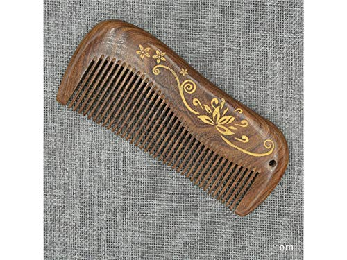 Fashionable Design Golden Silk Sandalwood Comb Carved Wooden Comb Anti-static wooden Comb Massage Wooden Comb by Gelaiken