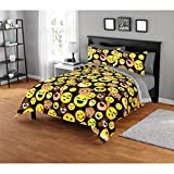 Emoji Comforter Set Queen 3 Piece Multi Color Emojipals Comforter Set Full Queen, Yellow Brown Emoticons Smiley Winkey Face Grimace Various Expression Emoji Fun Loving, Stylish Colorful Kids Bedding For Bedroom, Polyester