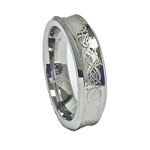 Etched Design Tungsten - Unisex 6mm Concave Tungsten Carbide Wedding Band with Laser Etched Celtic Dragon Design Size 8.5 (8 1/2)