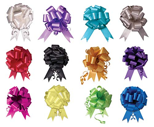 Faerynicethings Assorted Colors 5 inch Instant Pull Bows - Package 12 - Party Supplies