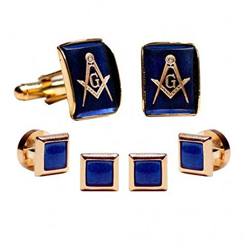 Mason Insignia Inlay Sapphire with Gold Trim Studs and Cufflinks (Sapphire Tuxedo)