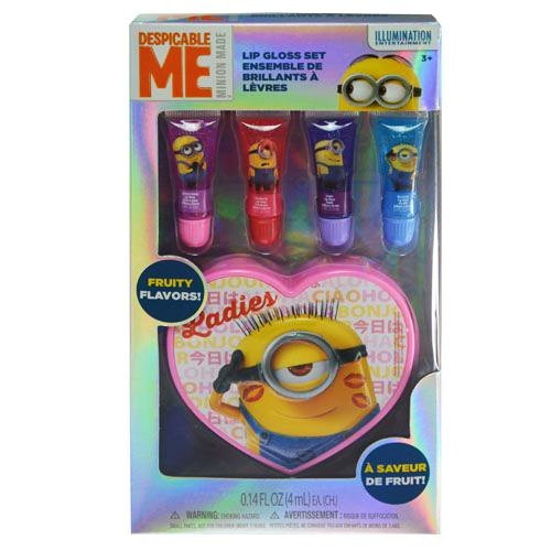 Despicable Me Minions Lip Gloss Set With Heart Shaped Carrying (Despicable Me Dress Up)
