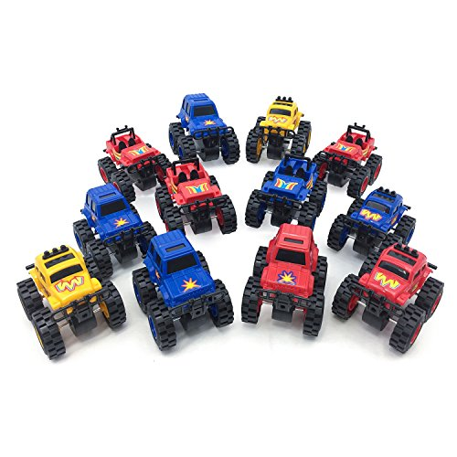 Boley Monster Trucks Toy 12 pack - assorted, large friction powered monster jam trucks that crush cars and make good stocking stuffers! (3 different shapes, 3 different colors. As pictured) (Daisy Krazy)