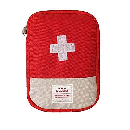 Mini Erste-hilfe-tasche Leer, tragbare Medizin Aufbewahrungstasche Medikament Verpackung Tasche für Outdoor-Reisen Rot